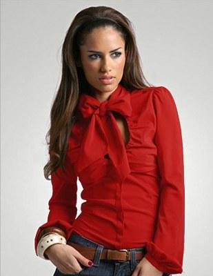 kırmızı büzgülü bayan gömlek modeli
