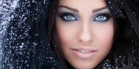 mavi gözlerde gri makyaj
